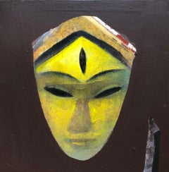 "Devi, Face, Acrylic on Canvas, Brown, Yellow by Contemporary Artist ""In Stock"""