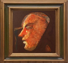 "Face, Acrylic on Canvas, Brown, Red, Yellow by Indian Artist ""In Stock"""