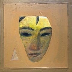 "Face, Devi, Acrylic on Canvas, Brown, Yellow by Contemporary Artist ""In Stock"""