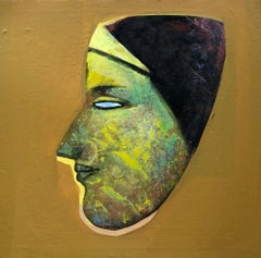 "Face, Devi, Acrylic on Canvas, Green, Brown, Yellow by Indian Artist ""In Stock"""