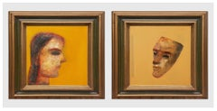 """Face Series, Couple, Acrylic on Canvas, Yellow, Brown by Indian Artist""""In Stock"""""""