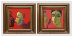 """Face Series, Couple, Mask, Acrylic on Canvas, Red, Brown, Green Colors""""In Stock"""""""