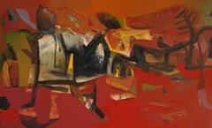"""Cityscape, Acrylic on Canvas, Red, Brown, Green color by Indian Artist""""In Stock"""""""