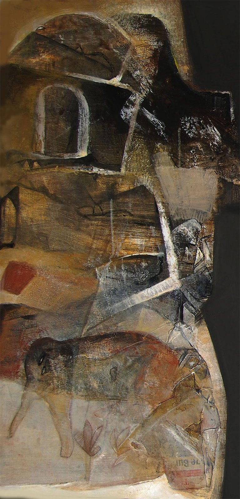 Banaras, Holy City, Indian Mythology Art, Abstract, Acrylic on Canvas