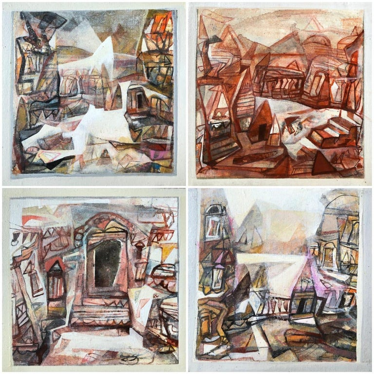 """Tapas Ghosal Interior Painting - Set of Benaras Series, Acrylic on Canvas, Brown by Contemporary Artist""""In Stock"""""""