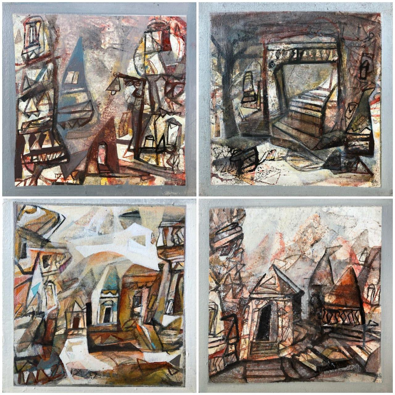 "Set of Benaras Series, Acrylic on Canvas, Brown by Contemporary Artist""In Stock"""