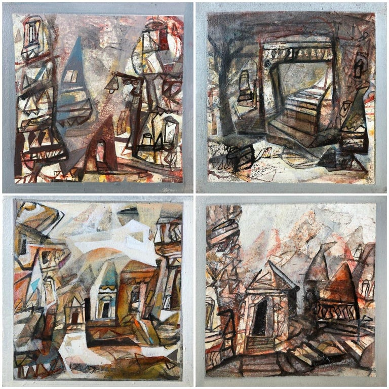 """Tapas Ghosal Abstract Painting - Set of Benaras Series, Acrylic on Canvas, Brown by Contemporary Artist""""In Stock"""""""