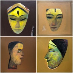 "Set of Face, Devi, Acrylic on Canvas, Brown, Yellow by Indian Artist ""In Stock"""