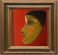 """Woman Face, Acrylic Oil Canvas, Red, Brown, Green Color, Indian Artist""""In Stock"""""""