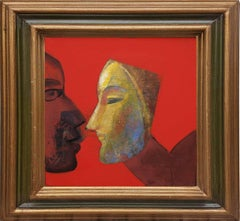 """Woman with Mask, Acrylic on Canvas, Red, Brown, Bluecolors, Indian Art""""In Stock"""""""