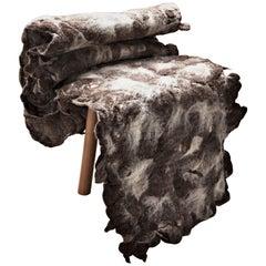 """""""Tapera"""" Little Chair in Wool and Wood by Inês Schertel, Brazil, 2019"""