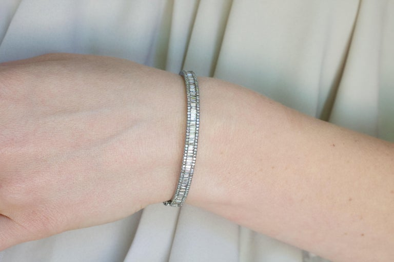 Artist Tapered Baguette and Pave Diamond Hinged Silver Bangle Bracelet For Sale