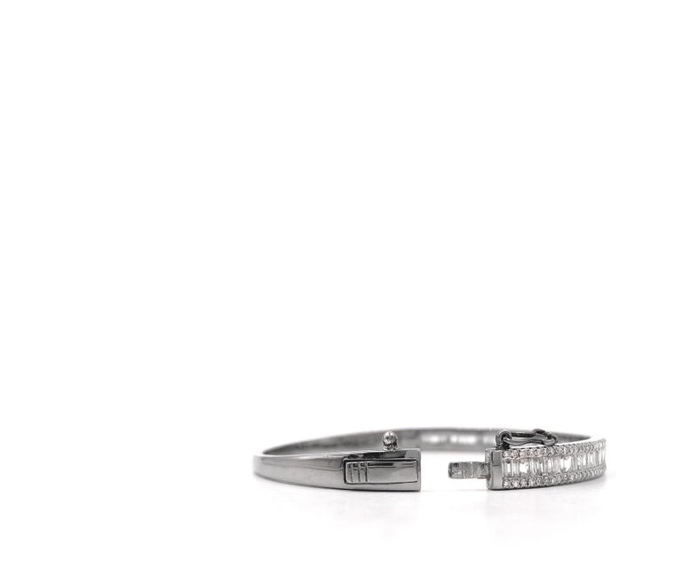 Baguette Cut Tapered Baguette and Pave Diamond Hinged Silver Bangle Bracelet For Sale
