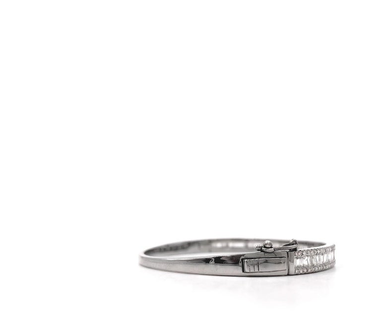 Tapered Baguette and Pave Diamond Hinged Silver Bangle Bracelet In New Condition For Sale In Dallas, TX