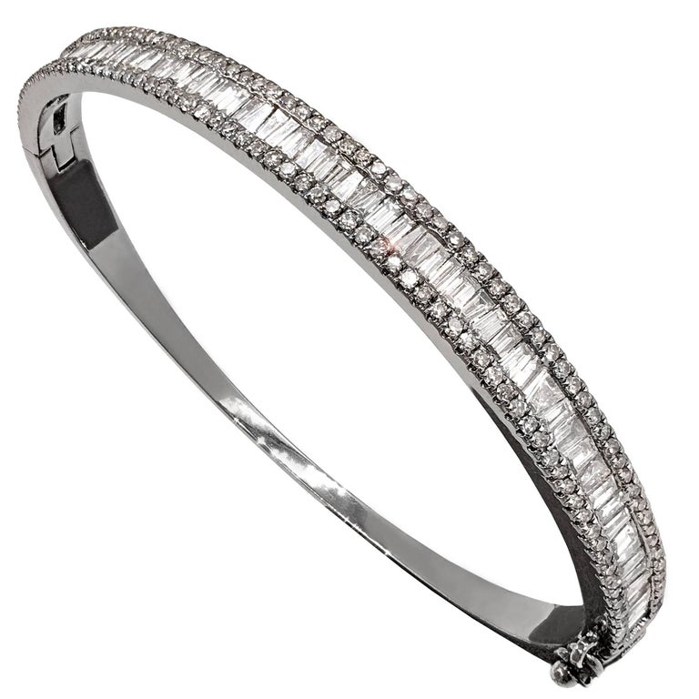 Tapered Baguette and Pave Diamond Hinged Silver Bangle Bracelet For Sale