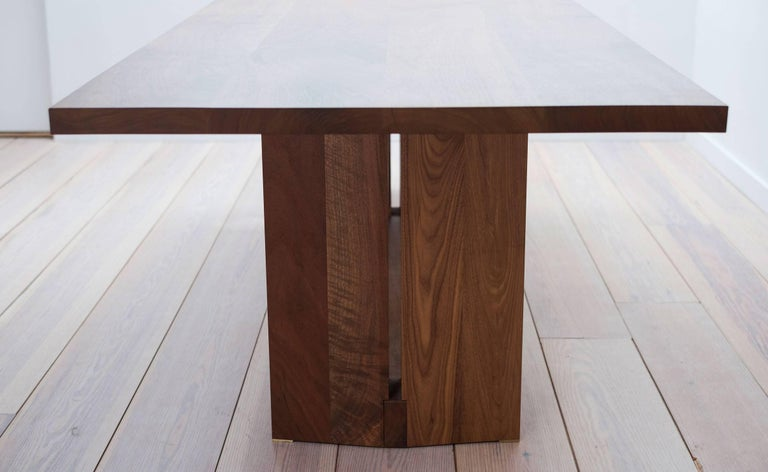Modern Tapered Dining Table in Solid Walnut For Sale