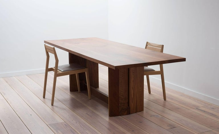 Contemporary Tapered Dining Table in Solid Walnut For Sale