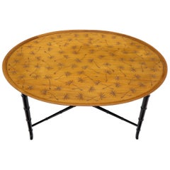 Tapered Faux Bamboo Leg Oval Top Coffee Table