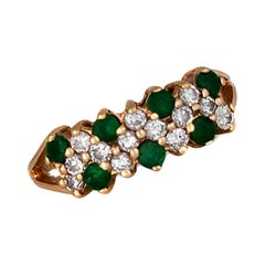 Tapestry, 1 Carat Emerald and Diamond Yellow Gold Ring
