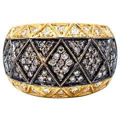 Tapestry ,85 Carat Black Diamond Pave Dome Ring 18 Karat Yellow Gold