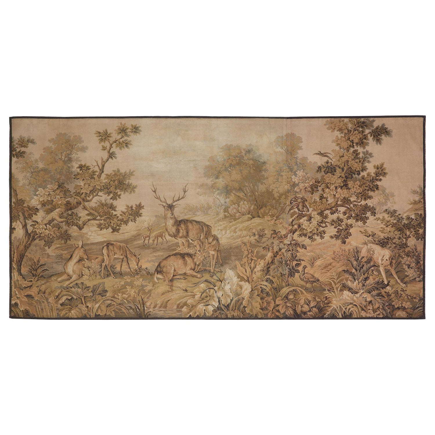 Tapestry Aubusson Sporting Woodland Stag Deer Hunting Dog Massive