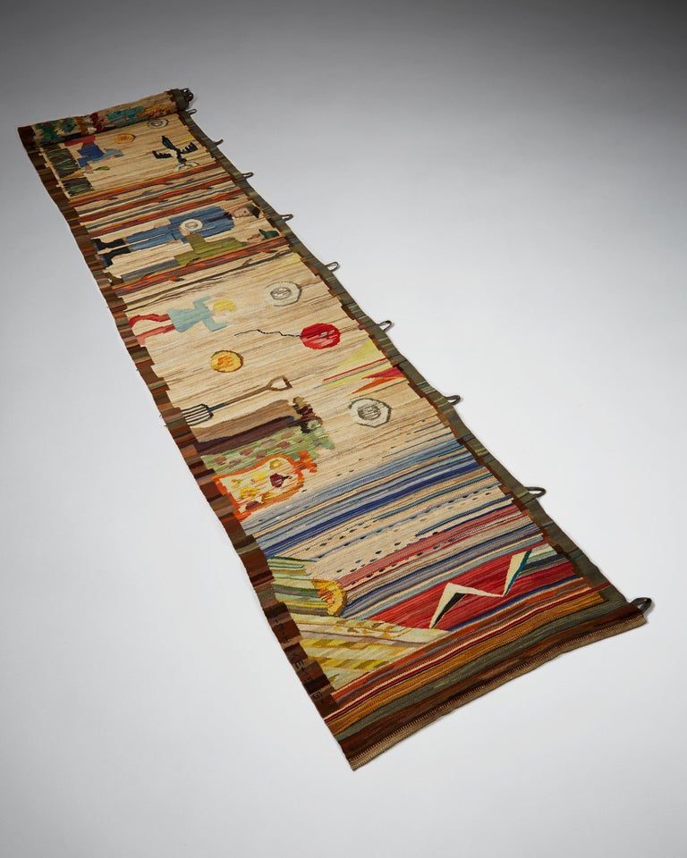 Tapestry by Anna-Maria Hoke, Sweden, 1966. Handwoven wool and gold thread.  Unique.  Measures: L 685 cm/ 22' 6'' H 101 cm/ 39 3/4''.