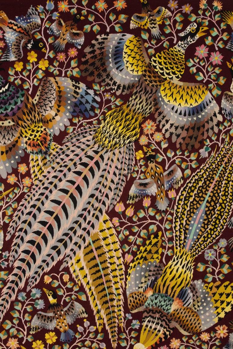 "René Perrot, Three pheasants ""Les Trois Faisans"" Material: Wool  Dimensions: 236 x 172 cm ; 8 x 6 ft  Aubusson tapestry woven at Pinton Frères workshop."