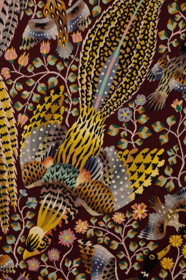 """Modern Tapestry by René Perrot """"Three pheasants"""" For Sale"""
