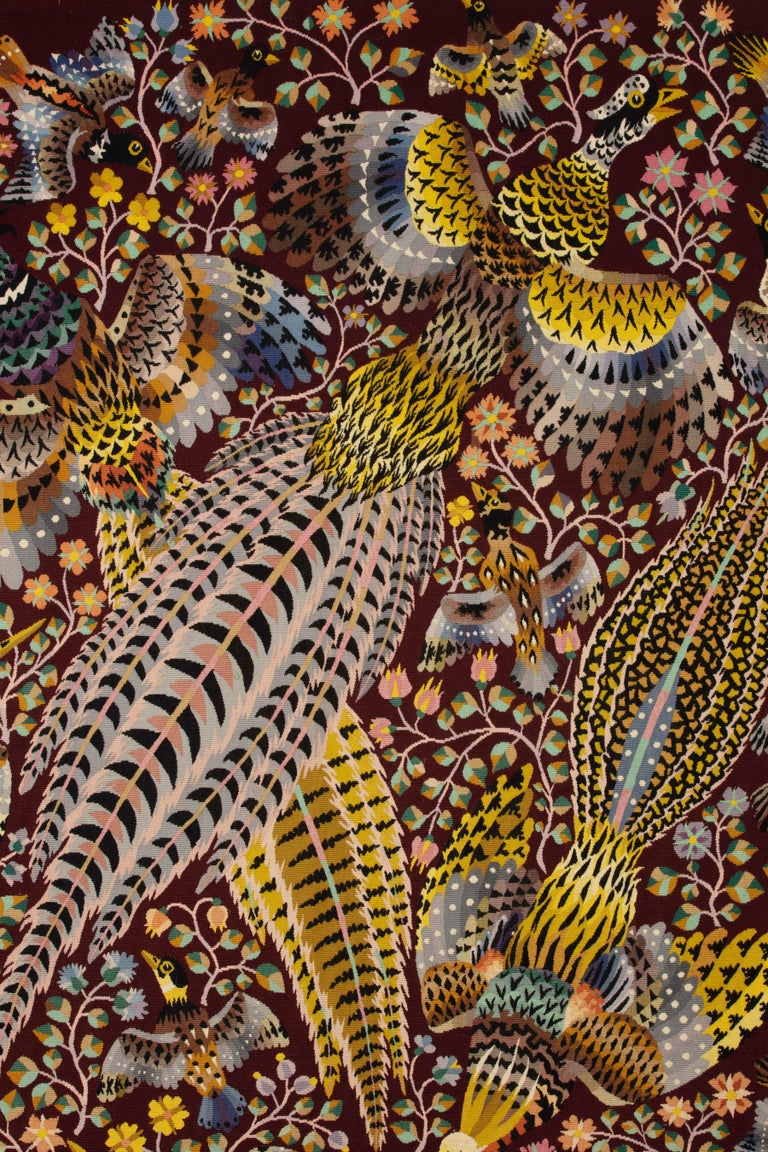 """Hand-Knotted Tapestry by René Perrot """"Three pheasants"""" For Sale"""
