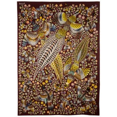"Tapestry by René Perrot ""Three pheasants"""