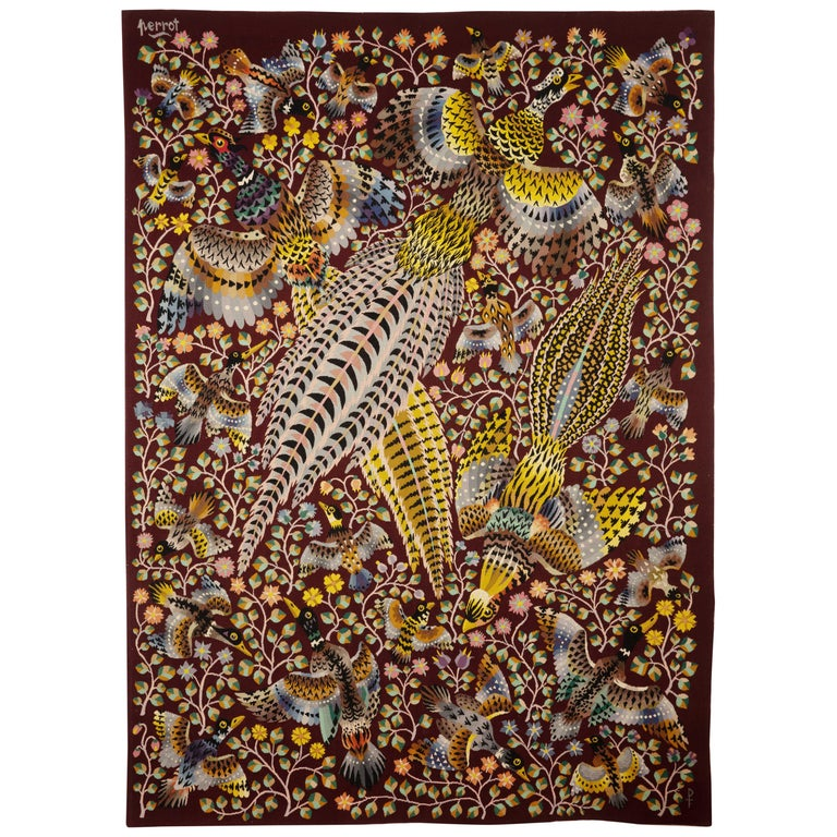 """Tapestry by René Perrot """"Three pheasants"""" For Sale"""