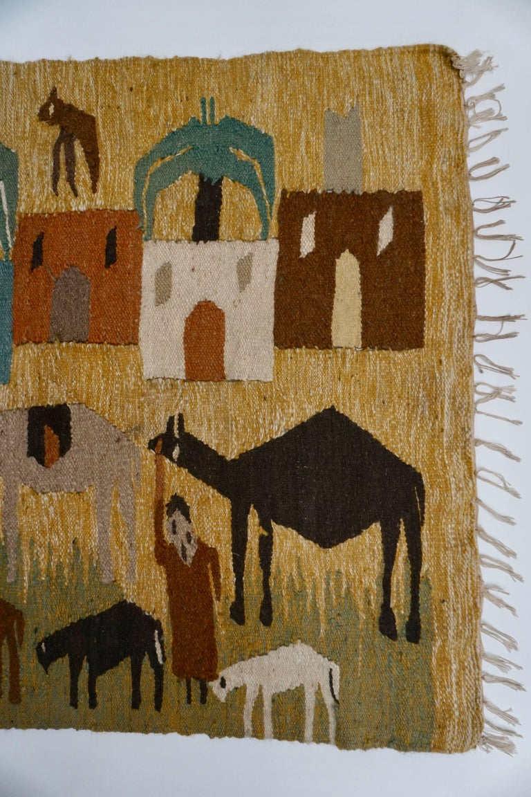 Hand-Woven Tapestry in Wool from the Studio of Ramses Wissa Wassef For Sale