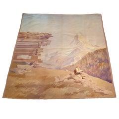 """781  - Tapestry """"La Montagne De Cervin"""" Aubusson, 20th Century"""