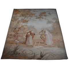 Tapestry Rug, Carpet Baroque Scene, circa 1870