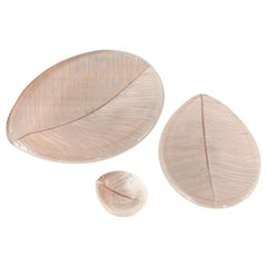 "Tapio Wirkalla, Set of three Art objects ""leaf"", Model 3337, Ittala 1950s"