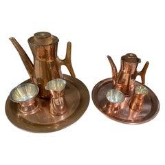 Tapio Wirkkala 2 Coffee Sets Copper and Silver