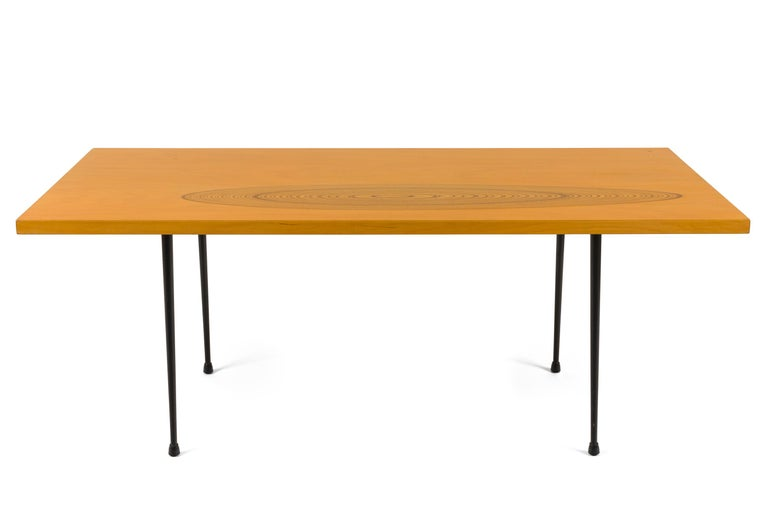 Mid-Century Modern Tapio Wirkkala #9011 Birch and Inlaid Teak Coffee Table for Asko, Finland, 1958 For Sale