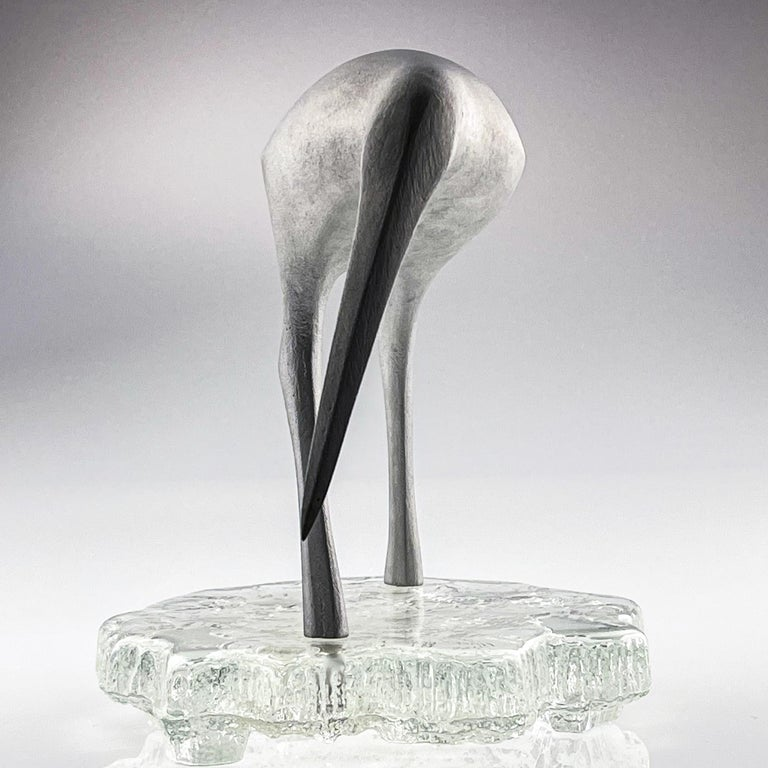 Cast Tapio Wirkkala, Birdsculpture on Glass Stand, Model TW 513, Kultakeskus ca. 1975