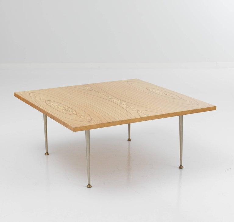 Tapio Wirkkala coffee table for Asko. On the top wooden inlay ornaments designed by Tapio Wirkkala. Measures width 90 cm, depth 90 cm, height 41 cm.