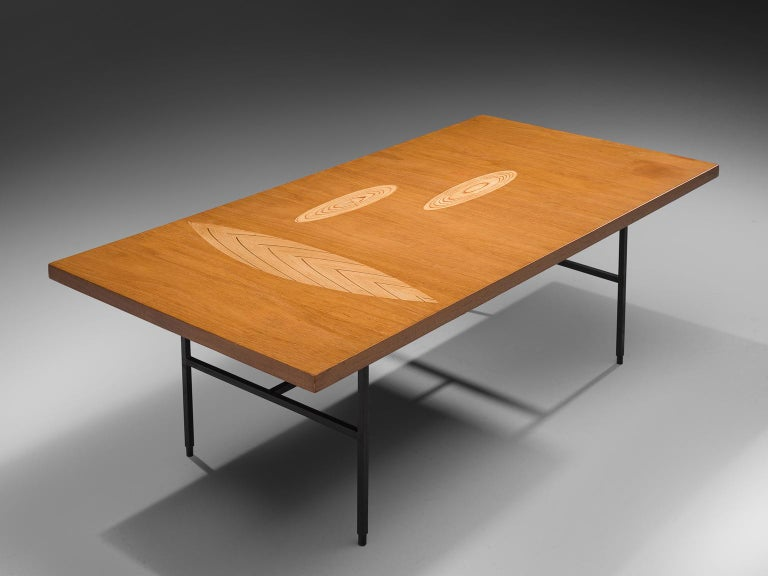 Tapio Wirkkala for Asko, cocktail table in Birchwood and metal, Finland, 1960s.  Coffee table with wooden inlay ornaments designed by Tapio Wirkala. The table is produced by Asko. This coffee table is one of Wirkkala's iconic furniture designs.