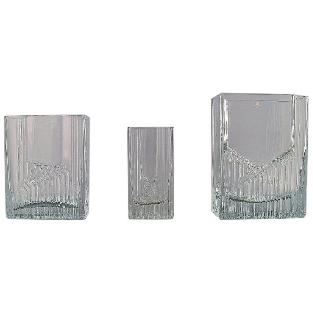 Tapio Wirkkala for Iittala, Three Vases in Art Glass, Finnish Design 1960s