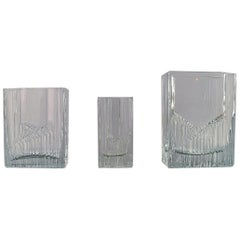Tapio Wirkkala for Iittala, Three Vases in Art Glass, Finnish Design 1960s