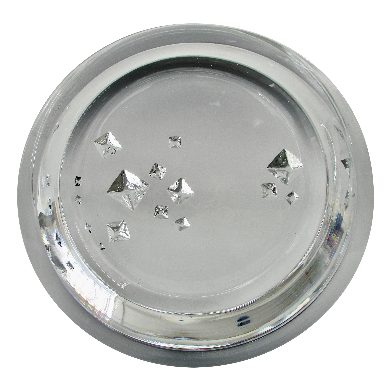 Tapio Wirkkala Lead Crystal Glass Bowl with Incised Geometric Design