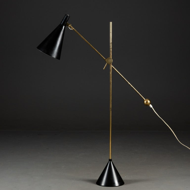 Tapio Wirkkala Model K10-11 Floor / Table Lamp, made by Idman, Finland in the 1950s. Brass and painted metal. Height if the lamp is adjustable - can be used as a floor or a table lamp. Stamped with makers mark. In working order but local rewiring is