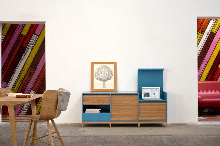 Tapparelle Desk, in Solid Oak, Inspired by Ancient Roll-Up Shutter Office For Sale 4
