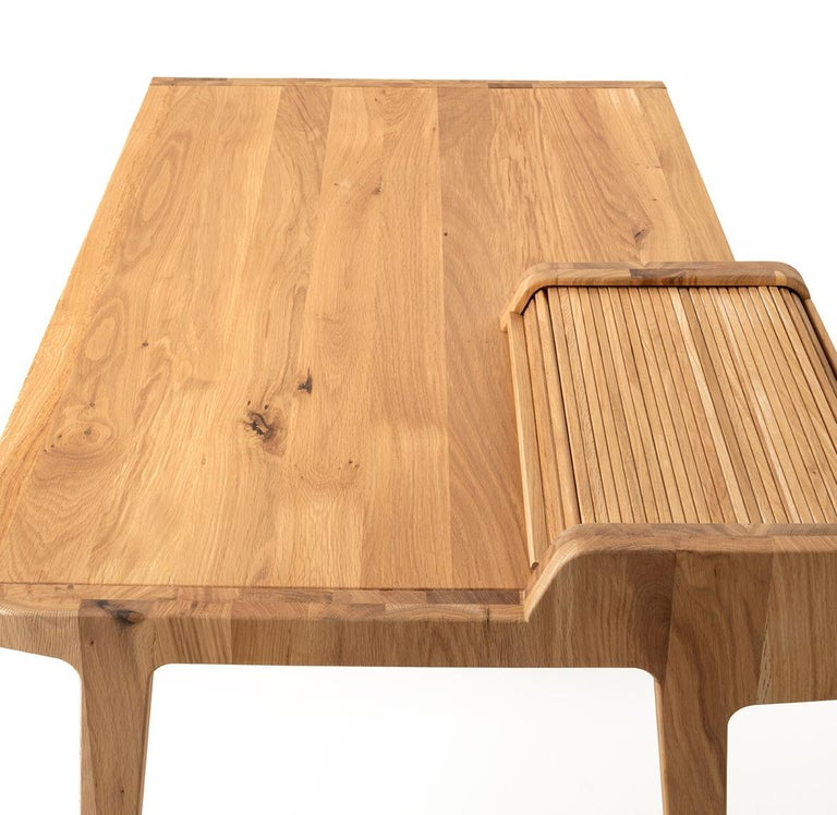 Italian Tapparelle Desk, in Solid Oak, Inspired by Ancient Roll-Up Shutter Office For Sale