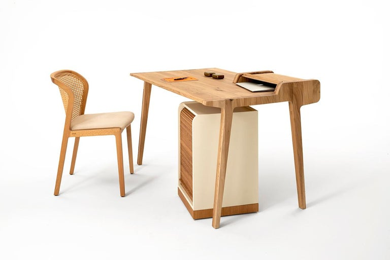 Hand-Crafted Tapparelle Desk, in Solid Oak, Inspired by Ancient Roll-Up Shutter Office For Sale