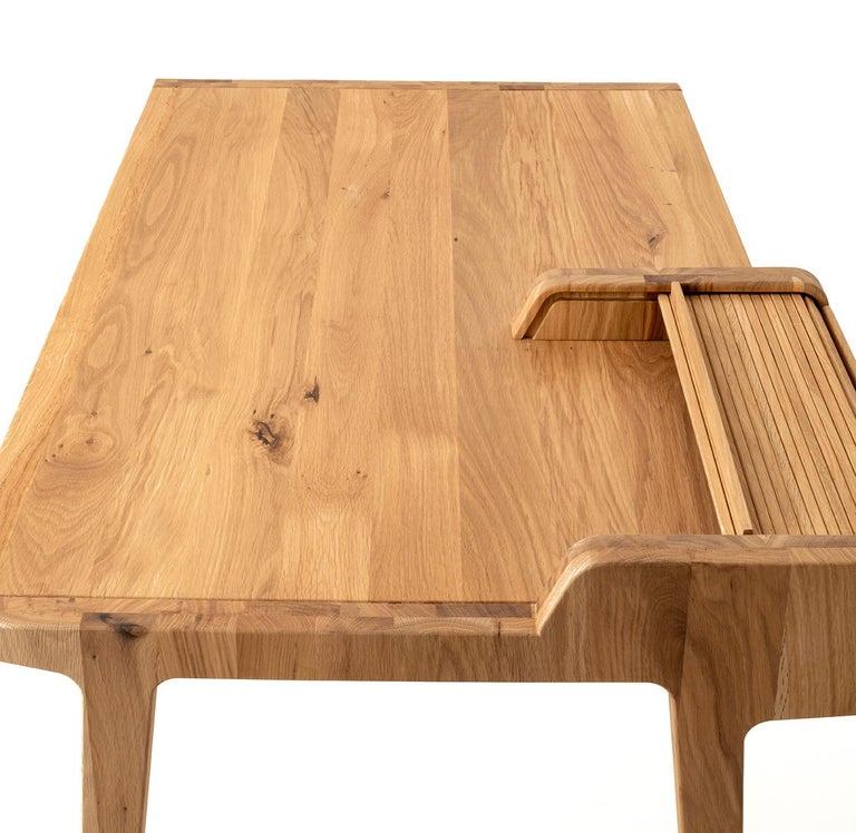 Tapparelle Desk, in Solid Oak, Inspired by Ancient Roll-Up Shutter Office In New Condition For Sale In Milan, Lombardy