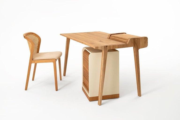 Contemporary Tapparelle Desk, in Solid Oak, Inspired by Ancient Roll-Up Shutter Office For Sale