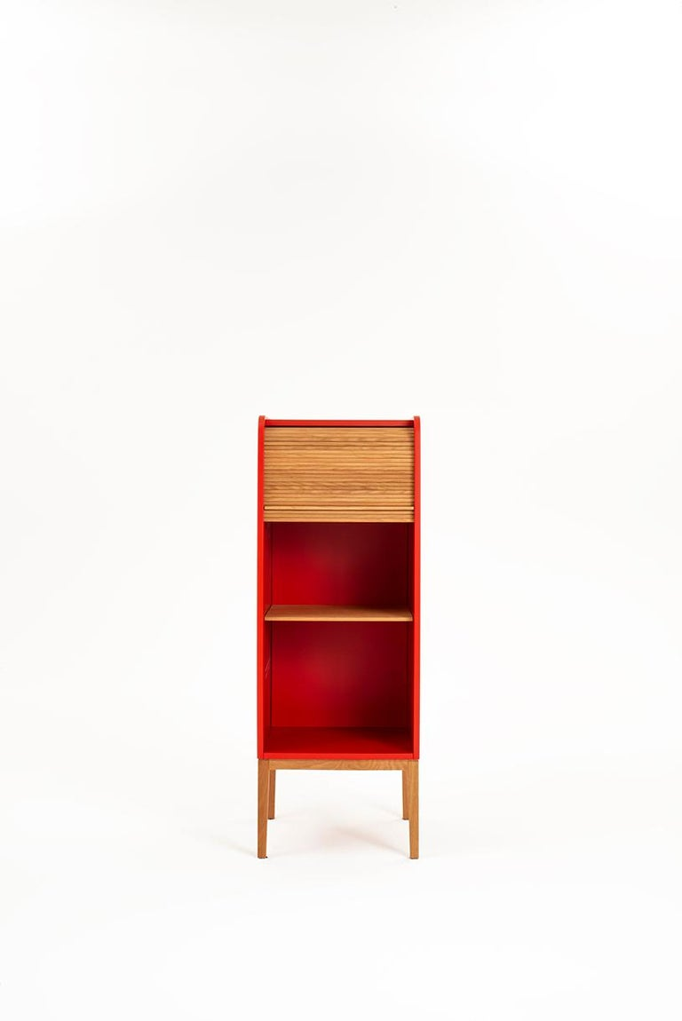 Minimalist Tapparelle L Cabinet Cherry Red; with Handmade Sliding Shutter in Solid Oak For Sale